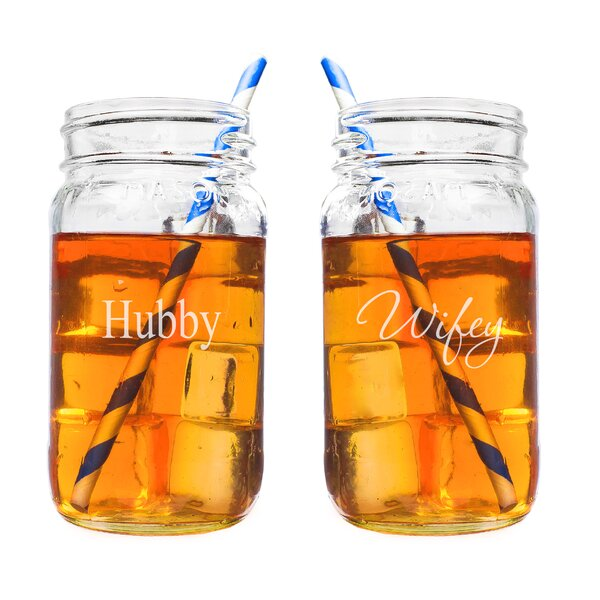 Hubby and Wifey 26 oz. Mason Jar Set (Set of 2) by