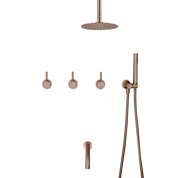Verona Ceiling Mounted Triple Mixer Bathroom Shower Set Volume Control Complete Shower System with Rough-in Valve by FontanaShowers FontanaShowers