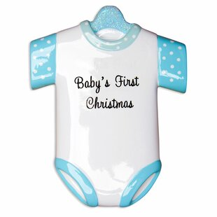 boy babys first onesie shaped ornament - Baby Boy First Christmas Ornament