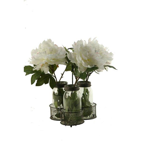Peonies in Glass Jars in Metal Holder by One Allium Way