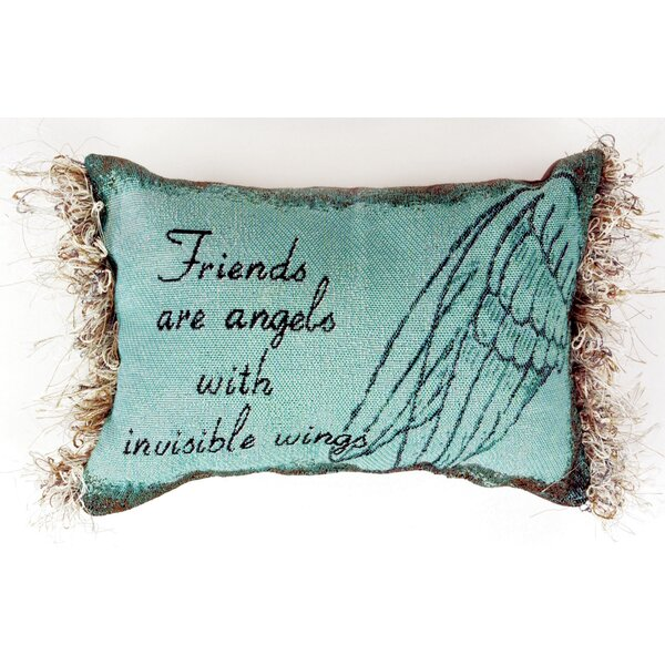 Friends are Angels Word Lumbar Pillow by Manual Woodworkers & Weavers
