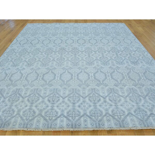 One-of-a-Kind Blake Ikat Tribal Design Handwoven Gray Wool Area Rug by Isabelline