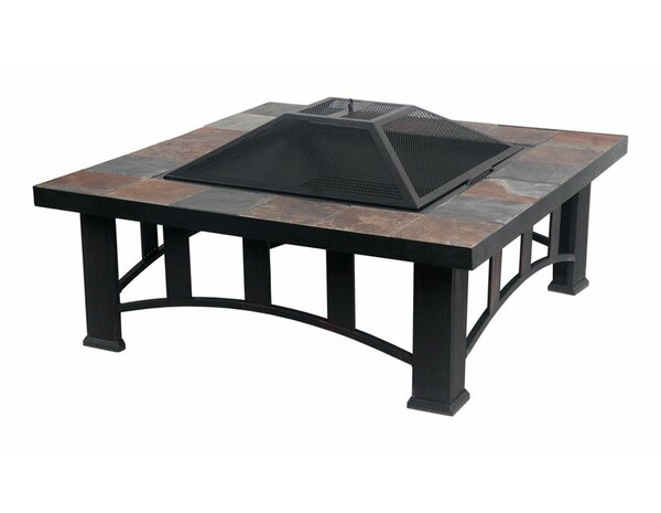Living Accents Slate Table Top Steel Charcoal Fire Pit by Northcape