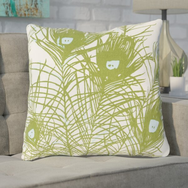 Wingert Peacock Cotton Throw Pillow by Wrought Studio