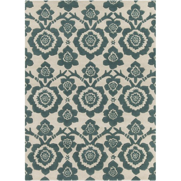 Dollins Hand Tufted Rectangle Contemporary Green/Cream Area Rug by House of Hampton