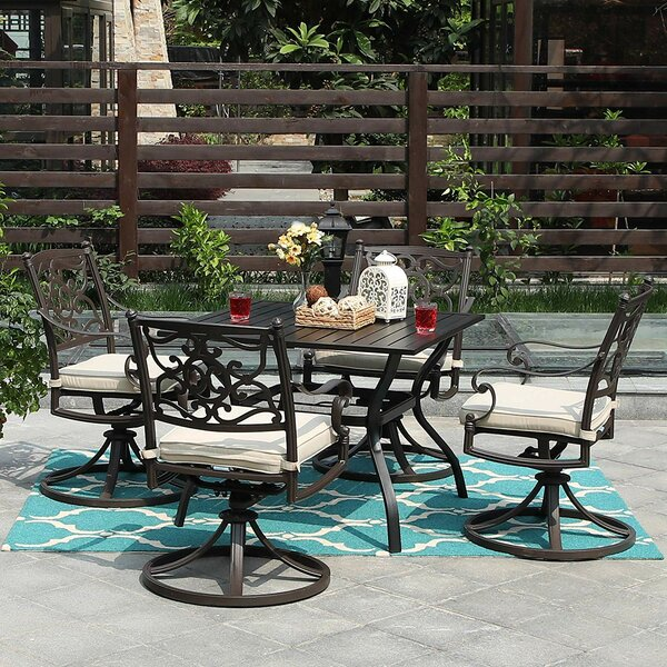Rountree Fashion 5 Piece Dining Set with Cushions by Fleur De Lis Living