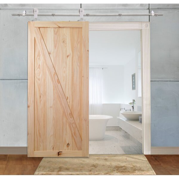 Stainless Steel Unfinished Z-Bar Solid Wood Panelled Knotty Pine Slab Interior Barn Door by Calhome