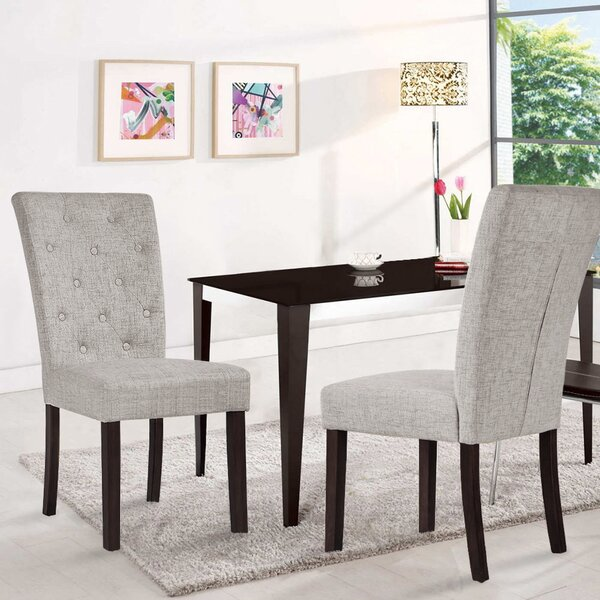Compare Price Defino Velvet Upholstered Dining Chair In Gray (Set Of 2)