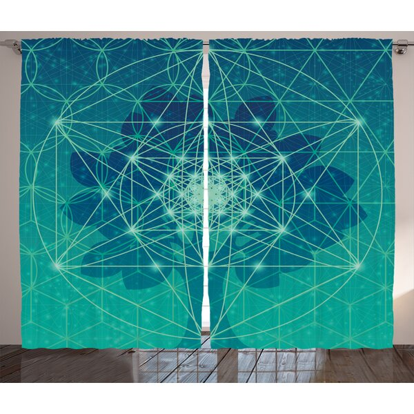 Couture Sacred Geometry Digital Futuristic Tree of Life Icon with Space Plains Archaic Pattern Graphic Print & Text Semi-Sheer Rod Pocket Curtain Panels (Set of 2) by Latitude Run