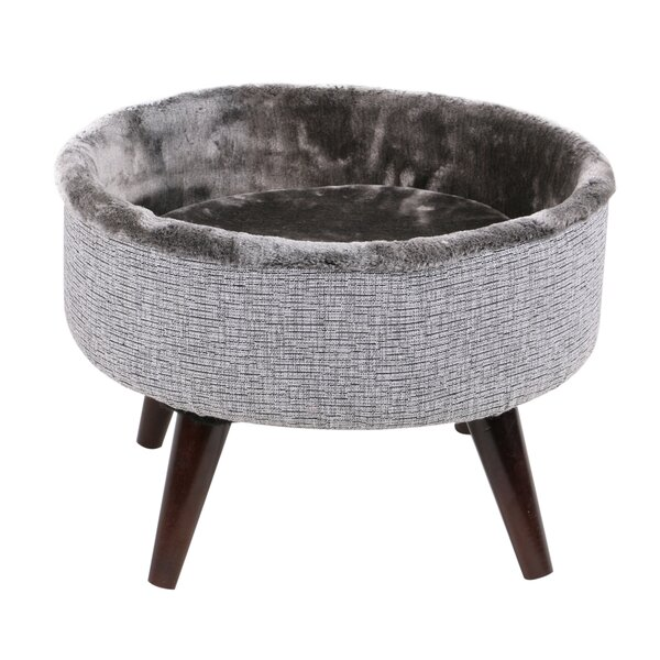 Bailey Round Cat Bed with Wood Leg by Tucker Murphy Pet