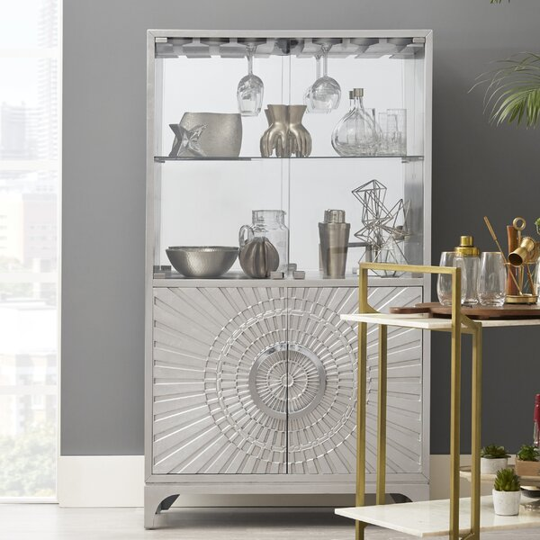 Jacquline Mirrored Home Bar Cabinet by Everly Quinn Everly Quinn