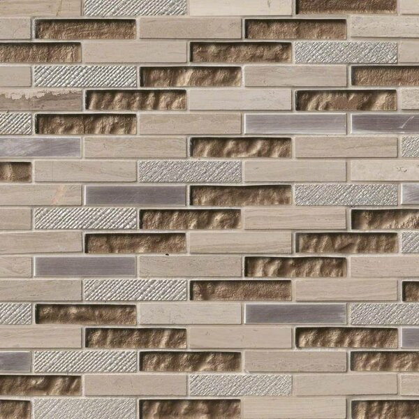 Diamante Brick 0.63 x 3 Glass/Stone Mosaic Tile in Taupe by MSI