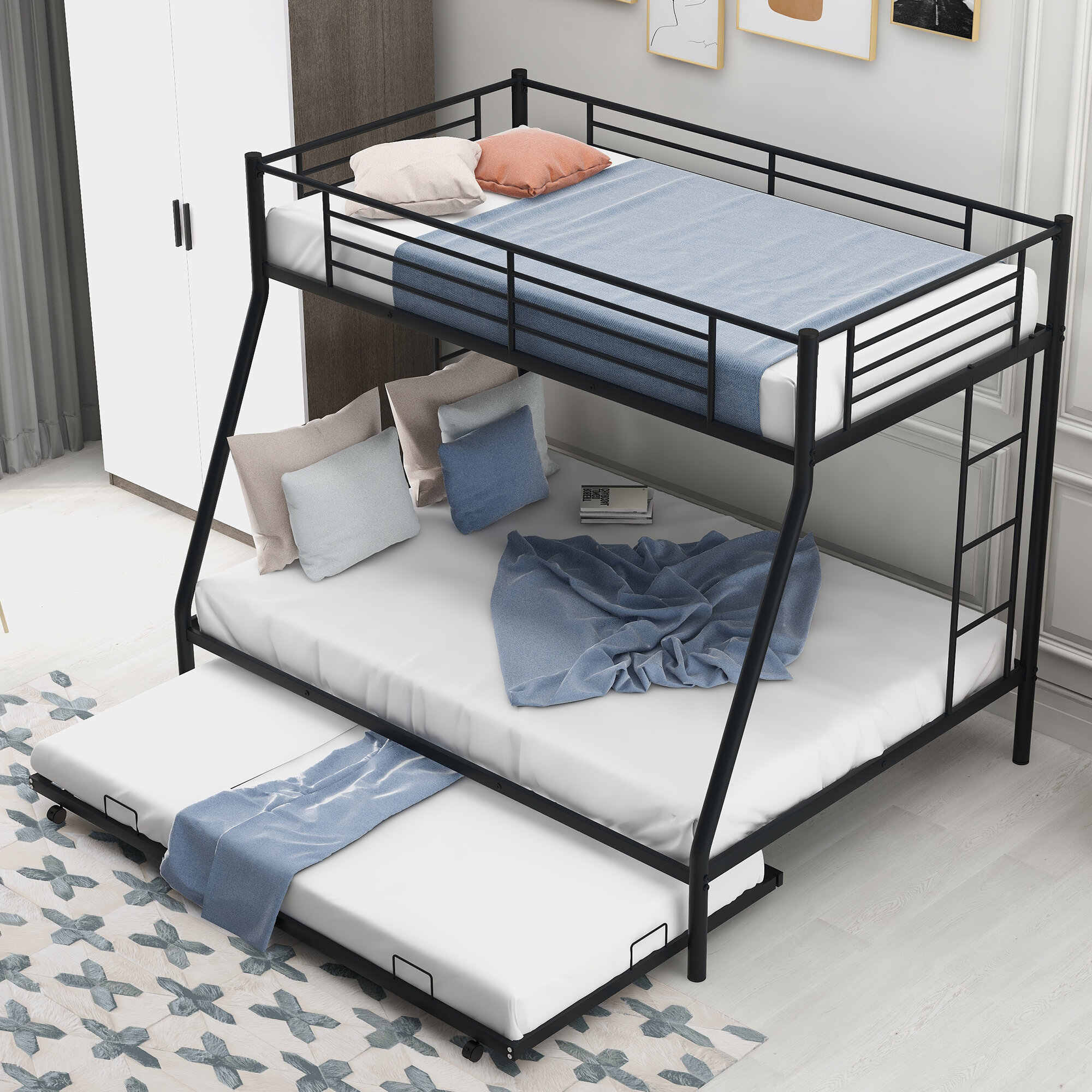 Isabelle Max Himes Twin Over Full Metal Bunk Bed With Trundle By Isabelle Max Wayfair