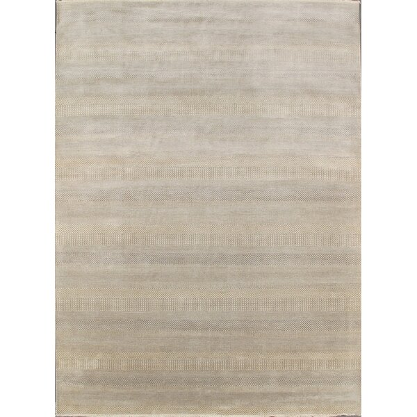 Modern Contemporary Transitional Hand-Knotted Silk and Wool Ivory Area Rug by Pasargad