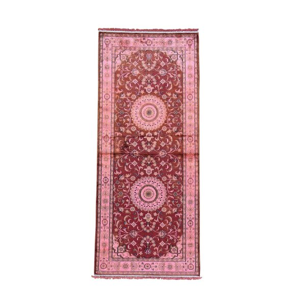 One-of-a-Kind Dillion Overdyed Silken Oriental Hand-Knotted Silk Red Area Rug by World Menagerie