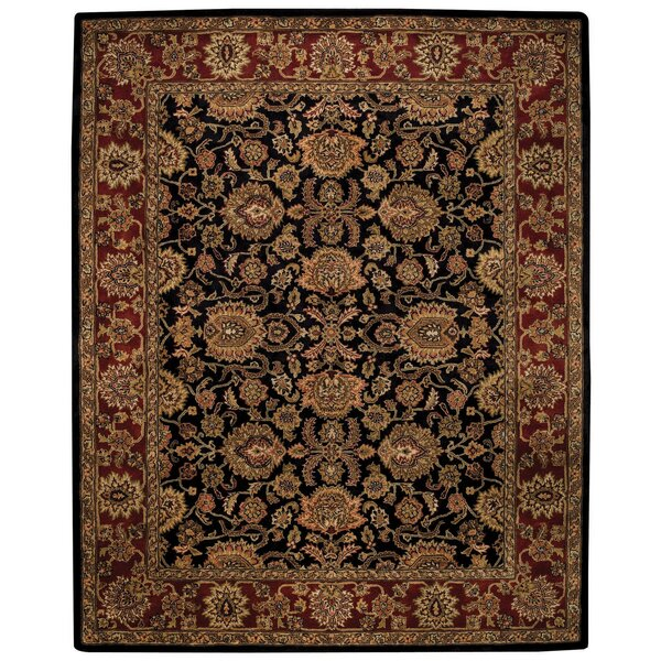 Woodland Black/Red Area Rug by Alcott Hill