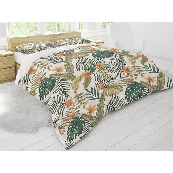 Yvette Tropical Leaves and Flowers Comforter Set