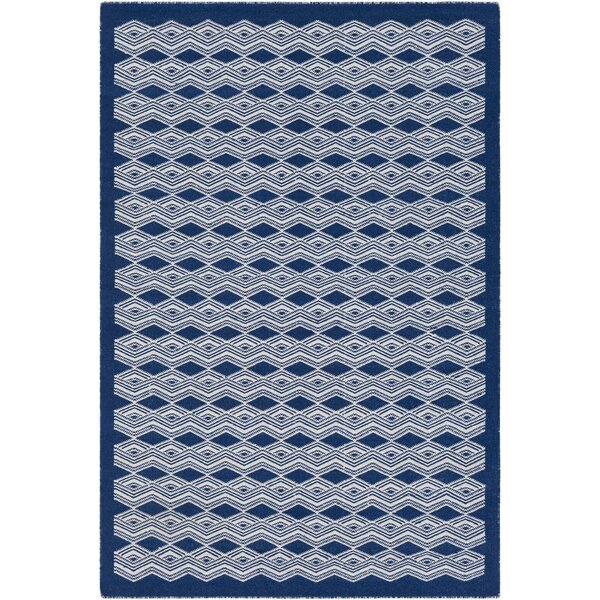 Jeannie Hand-Woven Dark Blue/Cream Area Rug by Ebern Designs