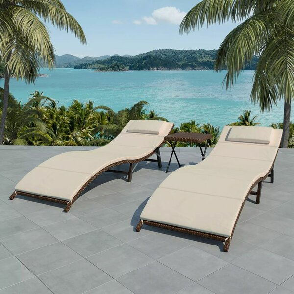 Volker Sun Lounger Set with Cushions and Table by Highland Dunes Highland Dunes