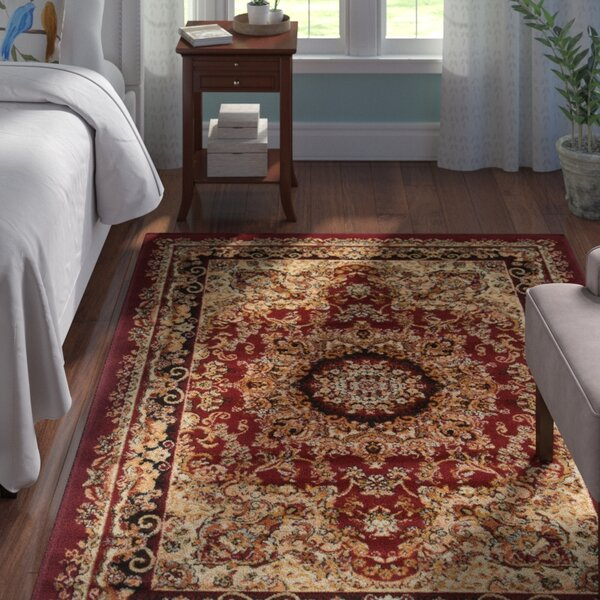 Harrison Red/Black Area Rug by Andover Mills