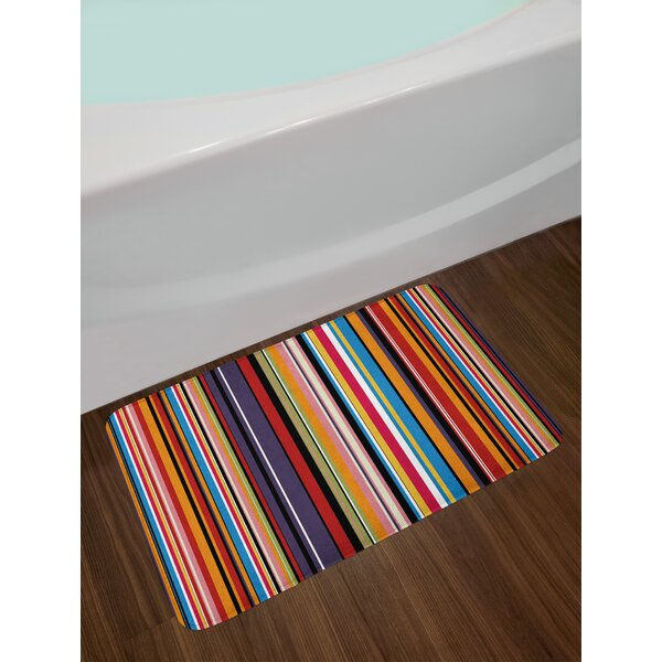 Abstract Vibrant Colored Stripes Vertical Pattern Funky Artistic Tile Illustration Non-Slip Plush Bath Rug by East Urban Home