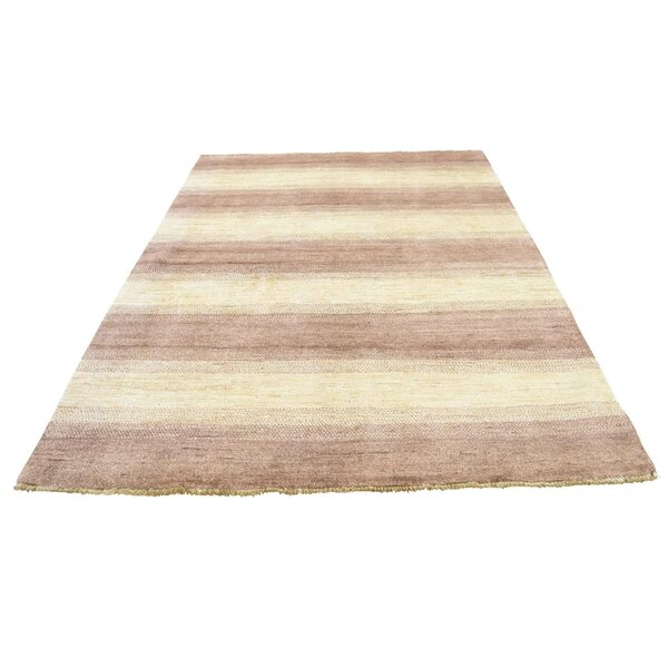 One-of-a-Kind Ferriera Peshawar Striped Hand-Knotted White/Brown Area Rug by Latitude Run