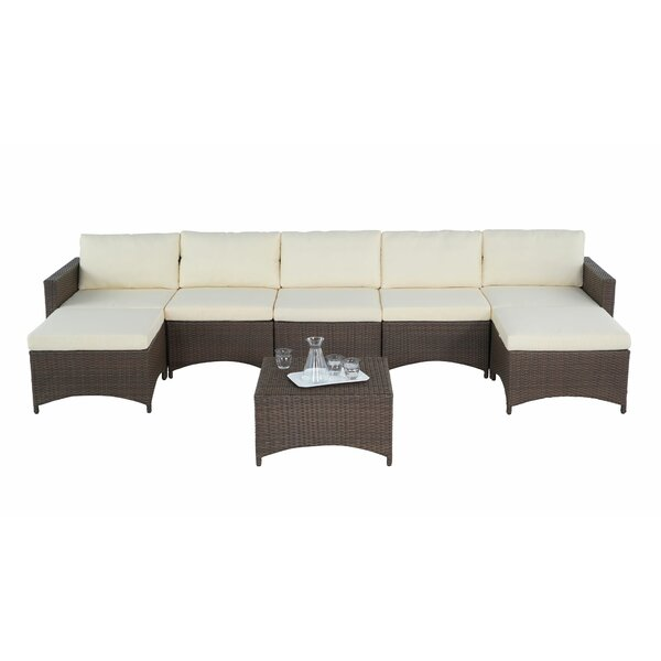 Raphael 3 Piece Rattan Sectional Seating Group with Cushions by Bayou Breeze