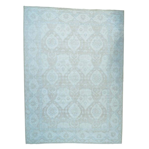 One-of-a-Kind Lausanne Overdyed Vintage Hand-Knotted Sky Blue/Brown Area Rug by Canora Grey