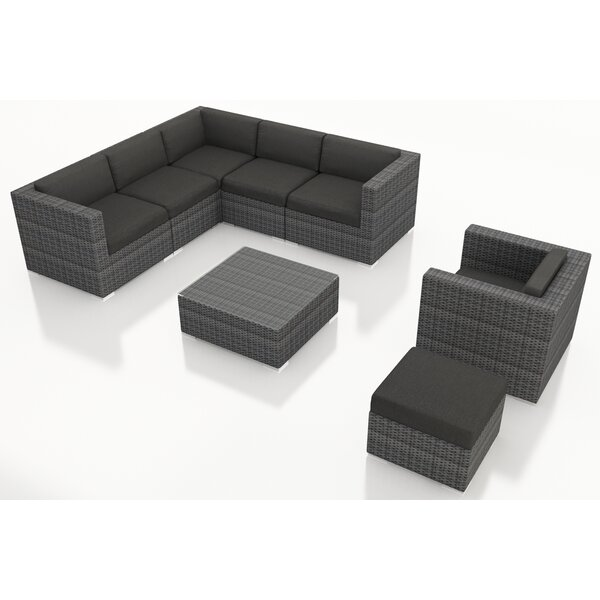 Hobbs 9 Piece Rattan Sunbrella Sectional Seating Group with Cushions by Rosecliff Heights