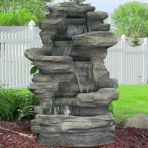 Joey Resin Stacked Shale Fountain with Lights by Millwood Pines