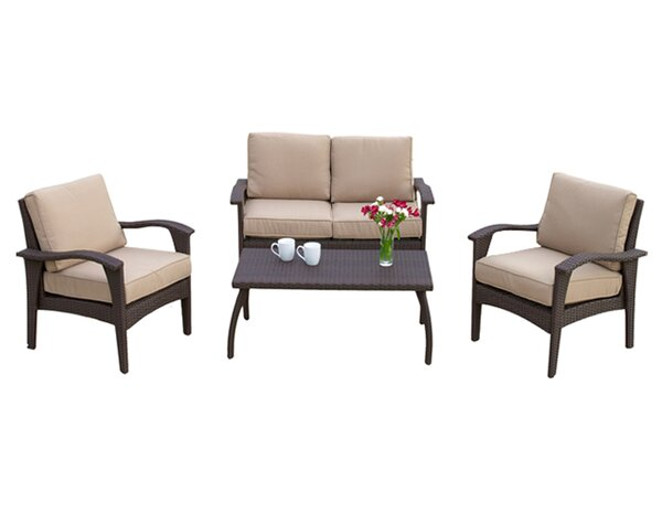 Guilford 4 Piece Rattan Sofa Seating Group with Cushions by Three Posts
