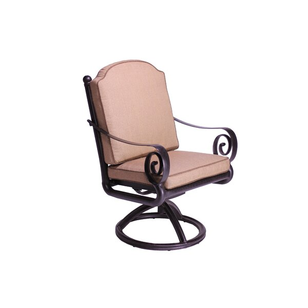 Westhampton Swivel Patio Dining Chair with Cushion (Set of 2) by Fleur De Lis Living