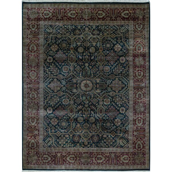 Oriental Hand-Knotted Wool Blue/Red Area Rug
