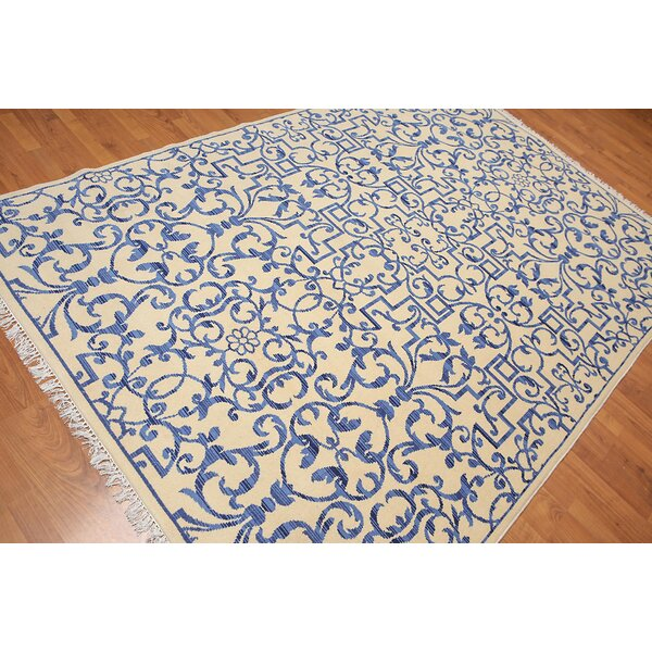 One-of-a-Kind Harrell Hand-Knotted Wool Blue/Beige Area Rug by Canora Grey