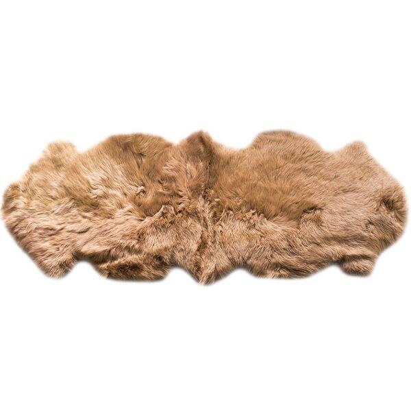 Sheepskin Fur Shag Honey Area Rug by Super Area Rugs