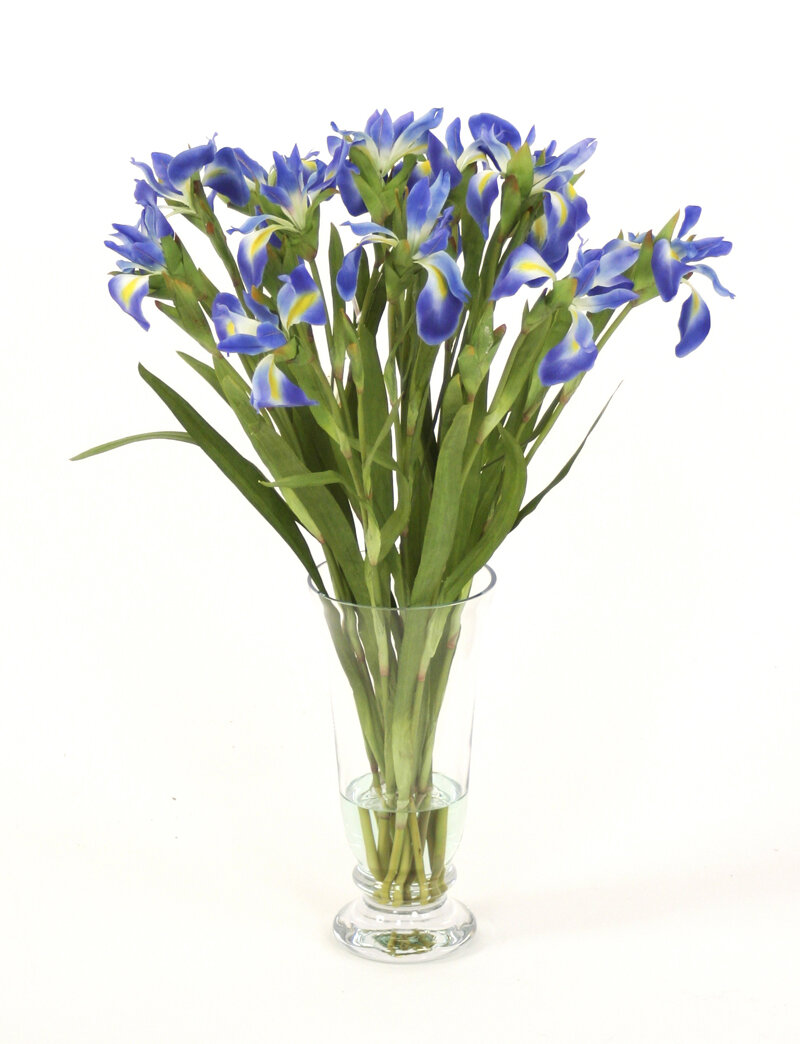 Distinctive Designs Waterlook Silk Iris Floral Arrangement In Glass