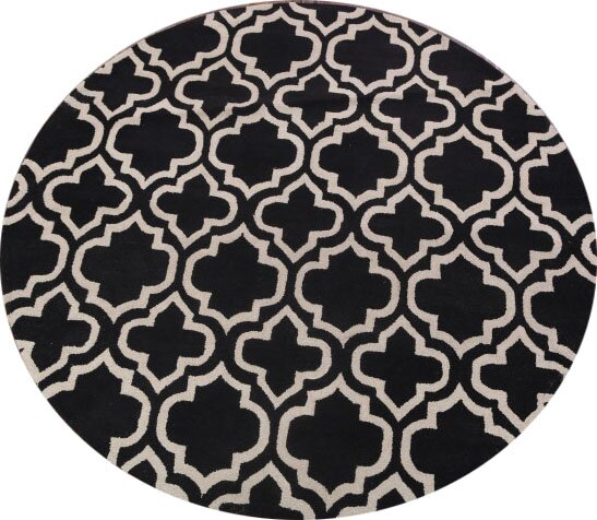 Puckett Moroccan Trellis Oriental Hand-Tufted Wool Black/White Area Rug by Everly Quinn