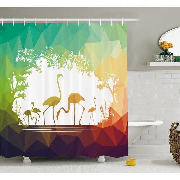 Wildlife Modern Flamingo Figures in Digital Art with Polygonal Featured Shadow Effects Shower Curtain Set by Ambesonne