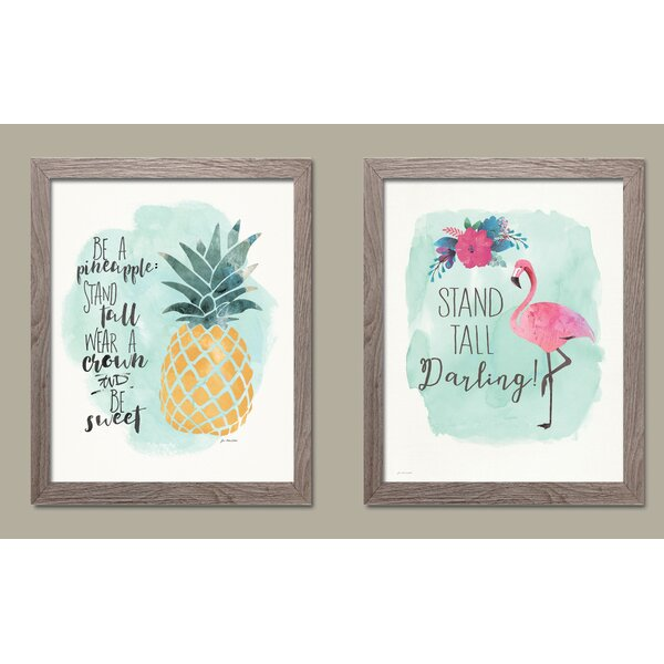 Josephs Watercolor Flamingo and Pineapple 2 Piece Framed Paper Print Set by House of Hampton