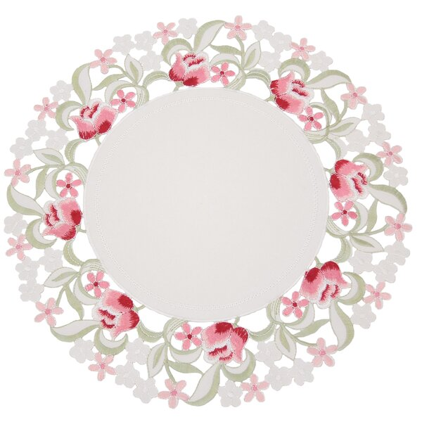 Lush Rosette Embroidered Cutwork Round Placemat (Set of 4) by Manor Luxe