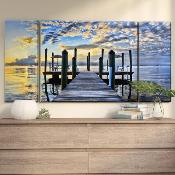 Pier Burst Wrapped On Photographic Print Multi Piece Image Canvas In Blue Yellow By Ebern Designs.