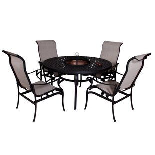 Babara 5 Piece Dining Set with Firepit By Darby Home Co