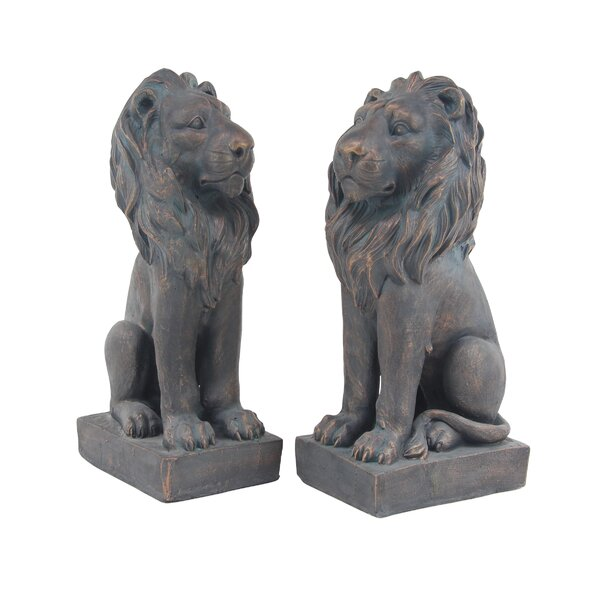 Palmatier Pair of Traditional Lion Resin Figurine by Alcott Hill