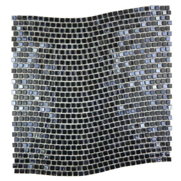 Galaxy Wavy 0.31 x 0.31 Glass Mosaic Tile in Dark Gray by Abolos