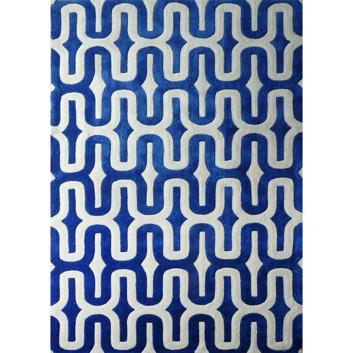 Hayter Hand Tufted Blue White Indoor Area Rug