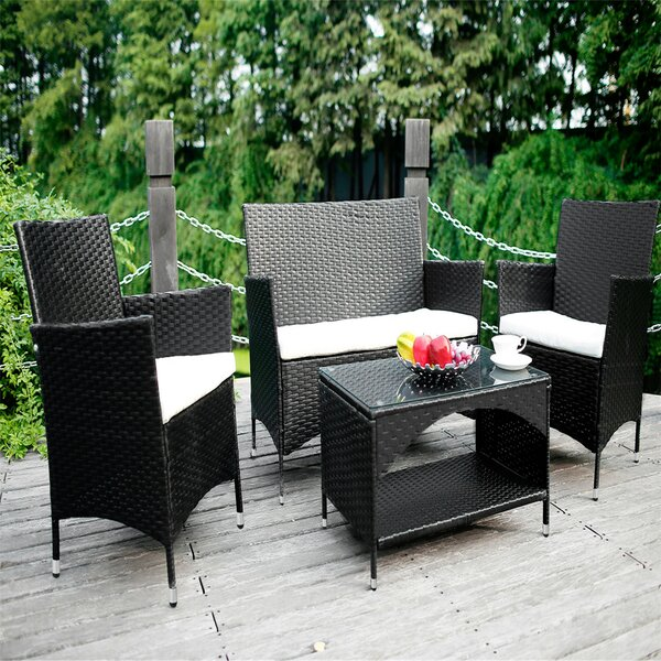 Radium Outdoor 3 Piece Wicker Sofa Seating Group with Cushions by Ebern Designs Ebern Designs