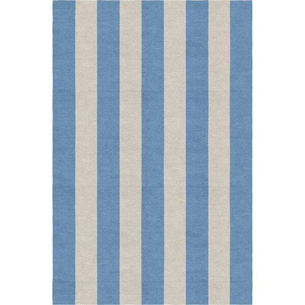 Claypoole Stripe Hand-Woven Wool Silver/Aqua Area Rug by Rosecliff Heights