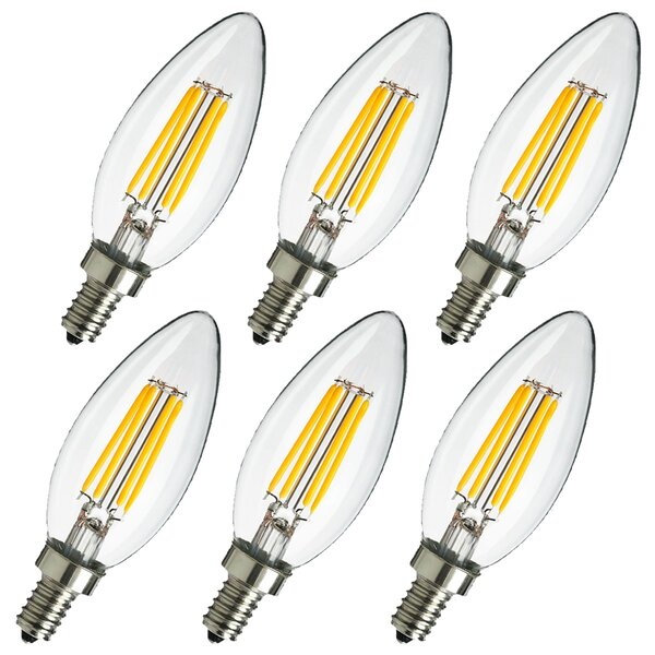 4W E12 LED Edison Candle Light Bulb (Set of 6) by Eurus Home