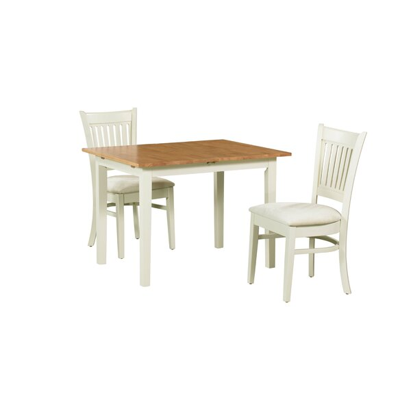 Shipe 3 Piece Extendable Solid Wood Dining Set by August Grove