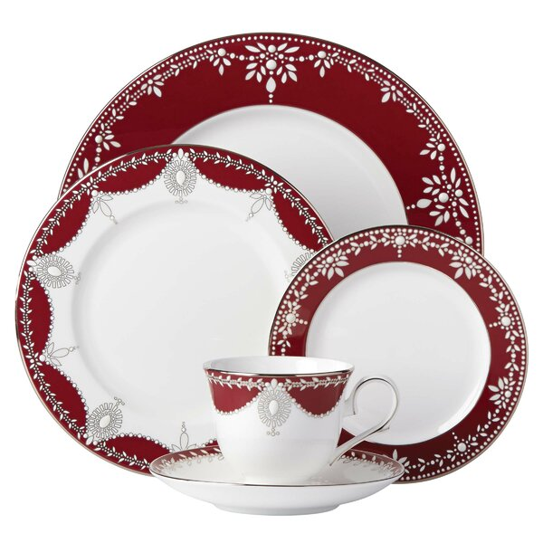 Empire Pearl Bone China 5 Piece Place Setting, Service for 1 by Marchesa by Lenox